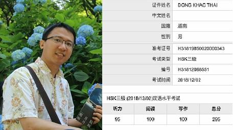 Kết quả luyện thi chứng chỉ tiếng Hoa quốc tế của bạn Đồng Khắc Thái